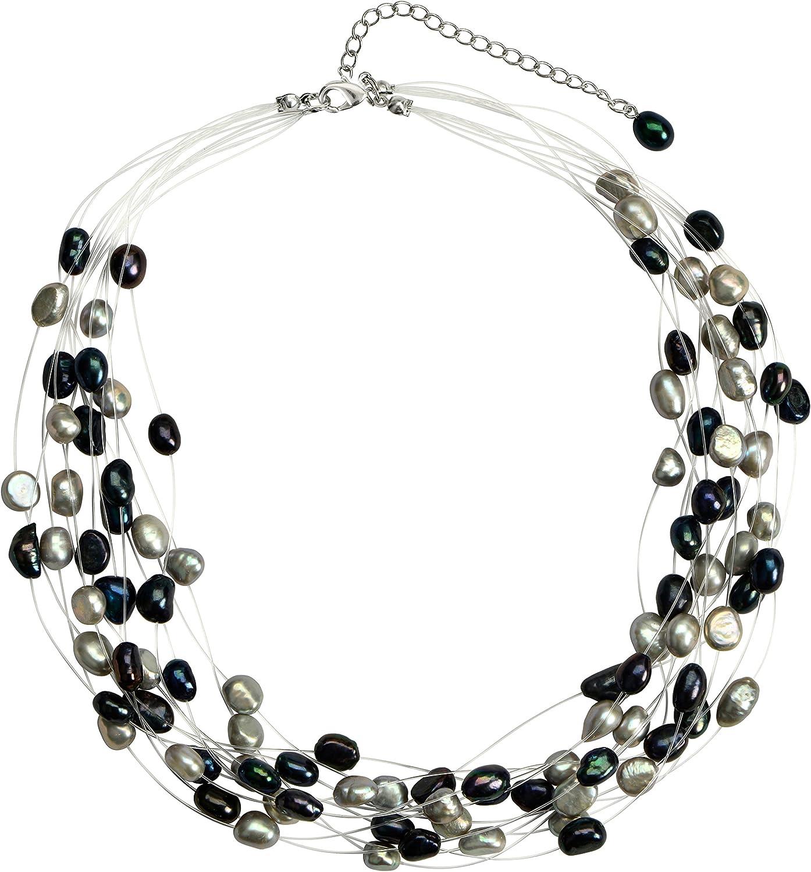 Regalia Multi Strand Baroque Multi-Black Freshwater Cultured Pearl Floating Necklace