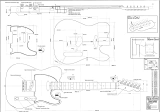 Fender Telecaster electric guitar plans - actual size full scale