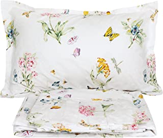 FADFAY Butterfly Meadow Bed Sheet Set 4-Piece 100% Cotton Stain Drill Sheets Twin Extra Long Size