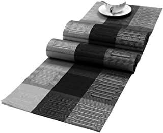 SHACOS Woven Vinyl Table Runner for Kitchen Dining Table Easy to Clean Washable PVC Table Runner (Ombre Black and Gray,12 by 71