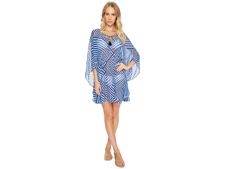 Tommy Bahama Fuller Fronds Lace-Up Tunic Cover-Up (White) Women