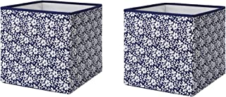 IKEA Foldable Storage Box (2, Blue/White Floral Patterned)