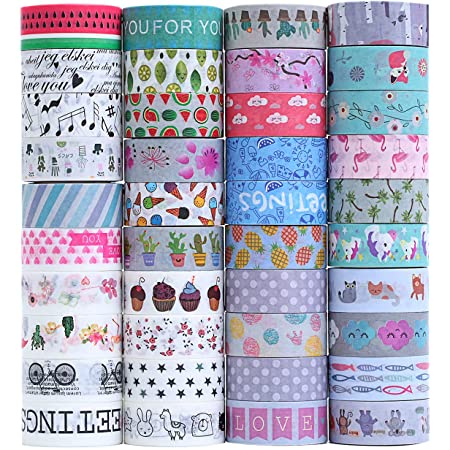 40 Rolls Washi Masking Tape Set, Decorative Adhesive Tape for Crafts,Beautify Bullet Journals,Planners