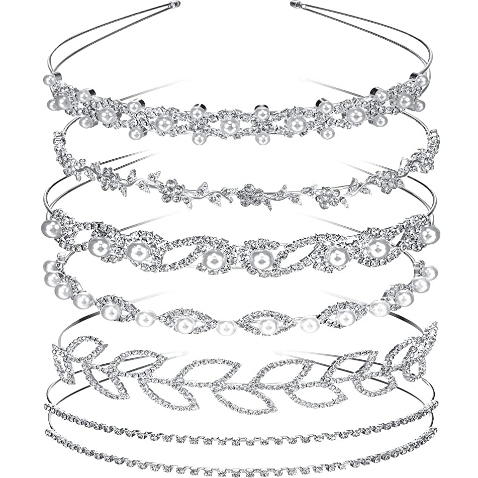 Tatuo 6 Pieces Bride Bridesmaids Crystal Flower and Leaves Crown Headband and Women's Girl's Faux Pearl Rhinestones Headdress for Wedding Party