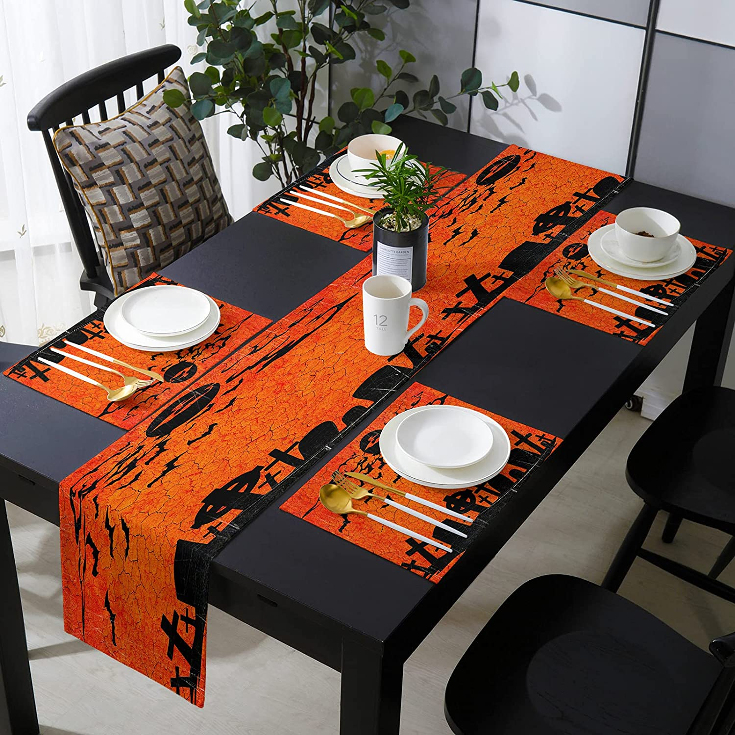 13 x 70 Inch Table Runner with Placemats Ba Red NEW quality assurance before selling ☆ of Set - Crack 6