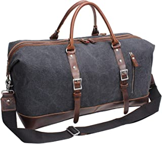 Iblue Vinatge Leather Weekender Travel Bag Mens Duffel Bag Canvas B003(XL 21'', Grey)