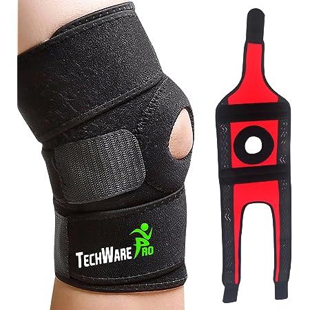 TechWare Pro Knee Brace Support - Relieves ACL, LCL, MCL, Meniscus Tear, Arthritis, Tendonitis Pain. Open Patella Dual Stabilizers Non Slip Comfort Neoprene. Adjustable Bi-Directional Straps - 4 Sizes