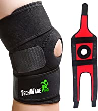TechWare Pro Knee Brace Support - Relieves ACL, LCL, MCL, Meniscus Tear, Arthritis, Tendonitis Pain. Open Patella Dual Stabilizers Non Slip Comfort Neoprene. Adjustable Bi-Directional Straps - 4 Sizes