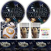 BashBox Disney Classic Star Wars Birthday Party Supplies Pack Including Plates, Cups, Napkins, Tablecover (16 Guests) Plus BONUS Candles