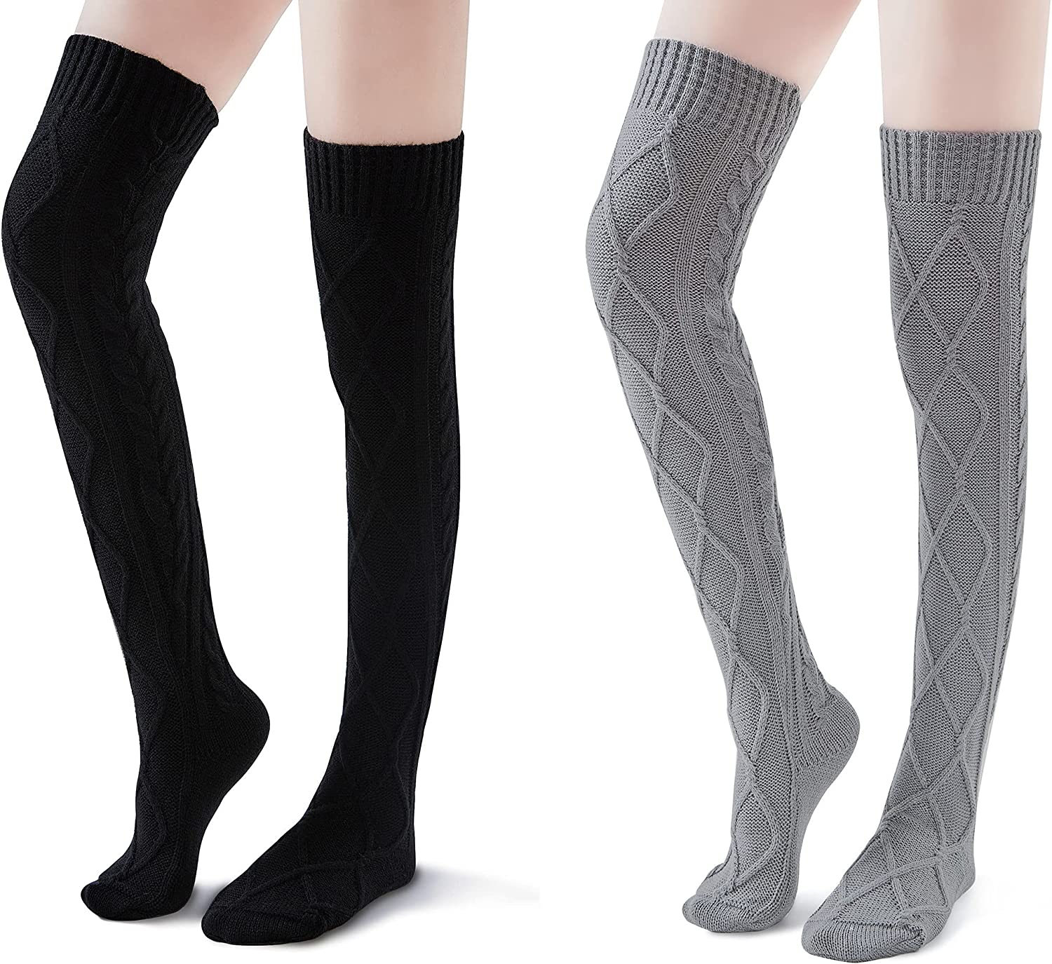 Thigh High Socks for Women Cable Knit Over the Knee Boot Socks, Long Warm Leg Warmers Winter(Gray&Black)