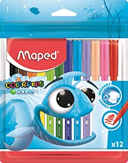 Maped Color'Peps Ocean Pens With Plastic Pouch Assorted Colours 12Pack