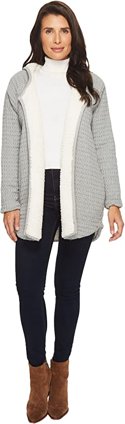Signature Waffle Faux-Sherpa Lined Hooded Cardigan