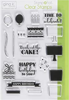 Gina K. Designs for Therm O Web StampnFoil Clear Stamps Time to Celebrate