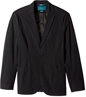Perry Ellis Men's Big and Tall Fit Solid Tech Stretch Jacket, Blackt, 46 Long