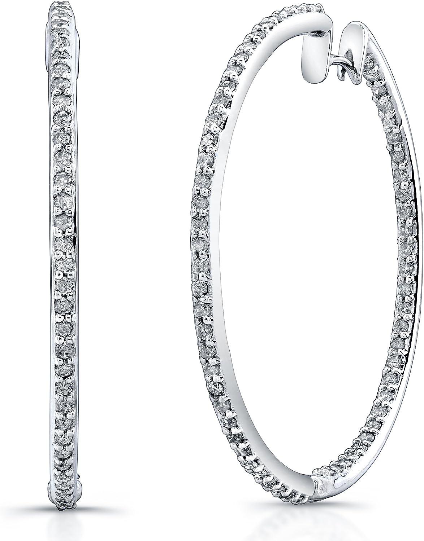 1 5 8ct Prong Diamond Hoop Earrings in 14k White gold (IJ, I1I2)