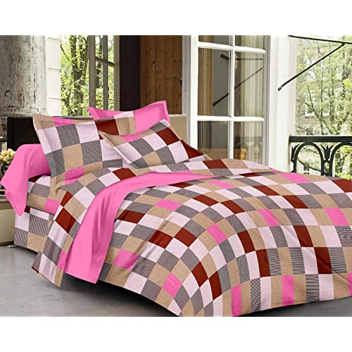 Jaipuri Chadaar 300 TC Pure Cotton Large Double Bed Sheet Set with 2 Pillow Cover