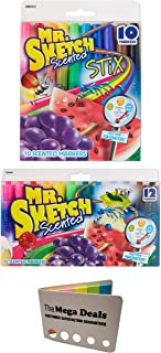 Mr. Sketch Scented Markers, Assorted Colors, 10-Count Fine Tip Markers and 12-Count Chisel Tip Markers | Includes 5 Color Flag Set