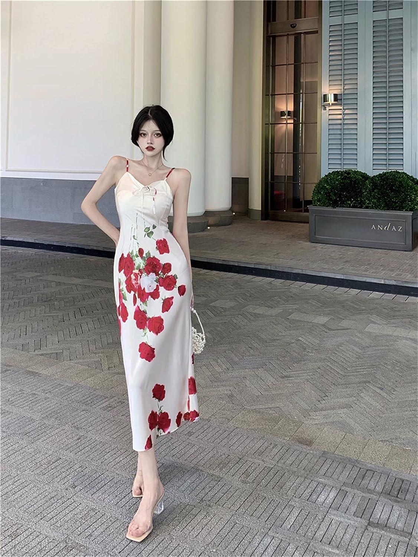 BXSM V-Neck Print Temperament Sexy Dress Waist Slim Slim Long Suspender Dress (Color : Multi-Colored, Size : Small)