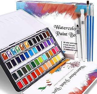 WOSTOO Akvarellfärgset, premium akvarellfärger 48 vibrerande färger bärbar akvarellblock professionellt fast pigment med 2...