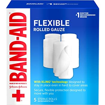 Band Aid Brand of First Aid Products Flexible Rolled Gauze Dressing for Minor Wound Care, Soft Padding and Instant Absorption, 3 Inches by 2.1 Yards, Value Pack 5 ct