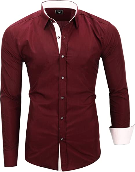 Kayhan Camisas Hombres Camisa Hombre Manga Larga Ropa Camisas de Vestir Slim fácil de Hierro Fit SML XL XXL-6XL - Modello Twoface + London