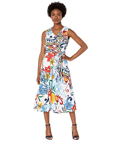 Tahari by ASL Petite Multicolor Pebble Crepe Side Tie Dress (Amalfi Tile Print) Women