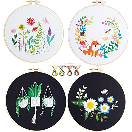 Color Threads Full Range of Cross Stitch Kit for Beginner with Stamped Clothes OFFICEPOCH Embroidery Starter Kit Plastic Embroidery Hoops Needle