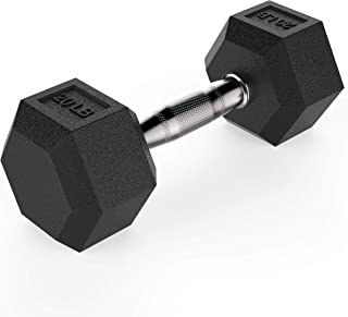 Goletics Dumbbells Rubber Black Hex - Singles and Pairs Dumbbell Pound - 10lb, 15lb, 20lb, 25lb, 30lb, 35lb, 40lb, 45lb