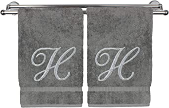 Monogrammed Hand Towel, Personalized Gift, 16 x 30 Inches - Set of 2 - Silver Embroidered Towel - Extra Absorbent 100% Turkish Cotton- Soft Terry Finish - for Bathroom, Kitchen and Spa- Script H Gray