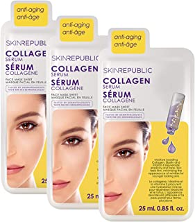 Skin Republic Collagen Infusion Face Mask Sheet Reduces Lines and Deep Wrinkles Collection (3 Pack)