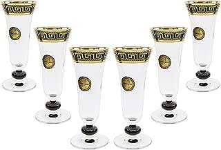 ArtDecor Greek Key, 7 Oz 'Sofia' Champagne Flute Crystal Glasses, 24K Gold