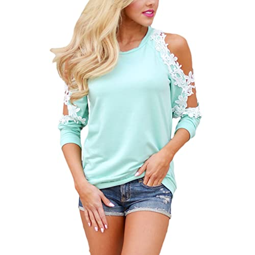 75a3a395f32fc9 Sidefeel Women Floral Lace Crochet Cold Shoulder Long Sleeve Blouse Tops