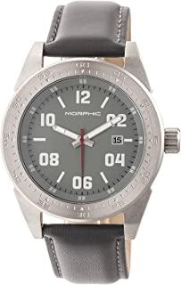 M63 Series Leather-Band Watch w/Date -Silver/Grey