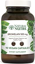 Natural Nutra Bromelain Proteolytic Digestive Enzyme Supplement from Highest Quality Pineapple Extract, 500 mg, Supports Protein Digestion, Vegan and Gluten Free, Recyclable Glass Bottle, 90 Capsules