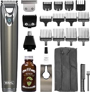 Wahl Beard Trimmer Men, Titanium Stainless Steel trimmer for Men with Beard Oil 30 ml Nose Hair Trimmer for Men, Stubble Trimmer, Male Grooming Set, Body Trimmer for Men, Washable Heads
