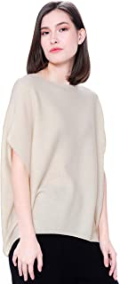 Goyo Cashmere Women's 100% Pure Cashmere Boat Neck Sweater - Short Sleeve Dropped Shoulder Pullover