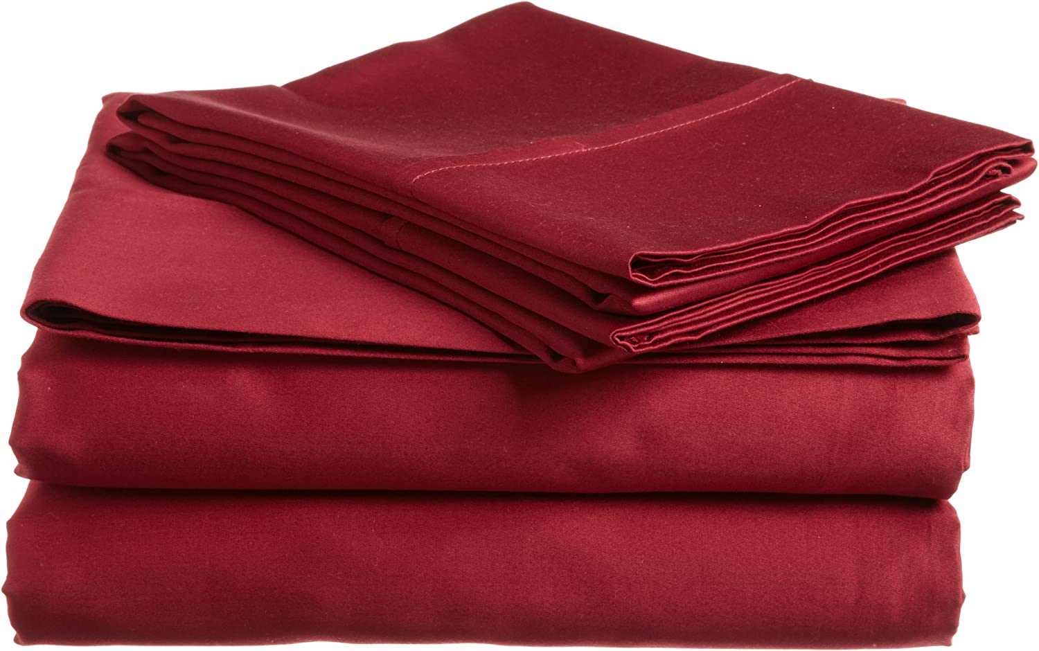 Superior 400 Thread Count Solid 4-Piece Sheet Set, California King, Burgundy