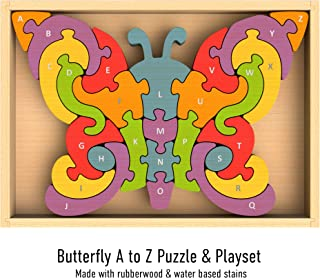 BeginAgain Butterfly A to Z Puzzle - Educational Wooden Alphabet Puzzle - Kids 2 and Up
