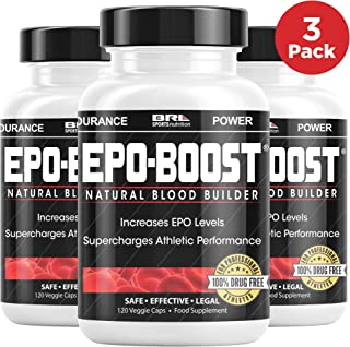 EPO-Boost Natural Blood Builder Sports Supplement. RBC Booster with Echinacea & Dandelion Root for Increased VO2 Max, Energy, Endurance (3 Pack)