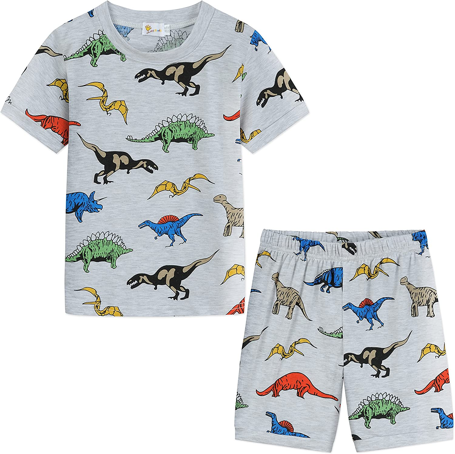 Little Girls Boys Short Sets Unicorn Dinosaur Print 2 Piece Summer Top and Shorts Clothes Sets Outfits 1-7 Years