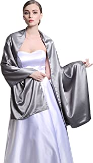 Satin Warp Versatile Scarf Shawl Bridal Stole Wedding Silky Shrug for Women's Evening Prom Party Two Styles