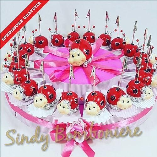 Bonboniere Gastgeschenk für Taufe Geburt mädchen Marienk r Clip Versand inklusive Torta da 35 fette