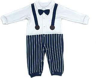 White and Blue Stripe Print Bodysuit Set Newborn Baby Boys Cute Cotton Romper Long Sleeve