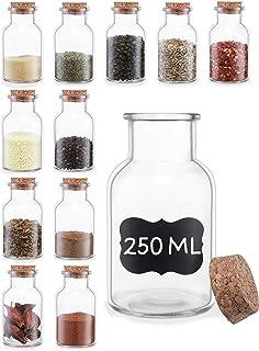 12 Bocaux d'Épices en Verre Hermetiques avec Couvercle - 250ml - Avec Etiquettes e Marqueur - Dans une Boîte à Cadeau