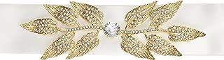 Darice David Tutera, Ivory Satin Sash with Gold Leaf Embellishment Wedding Dress Belt