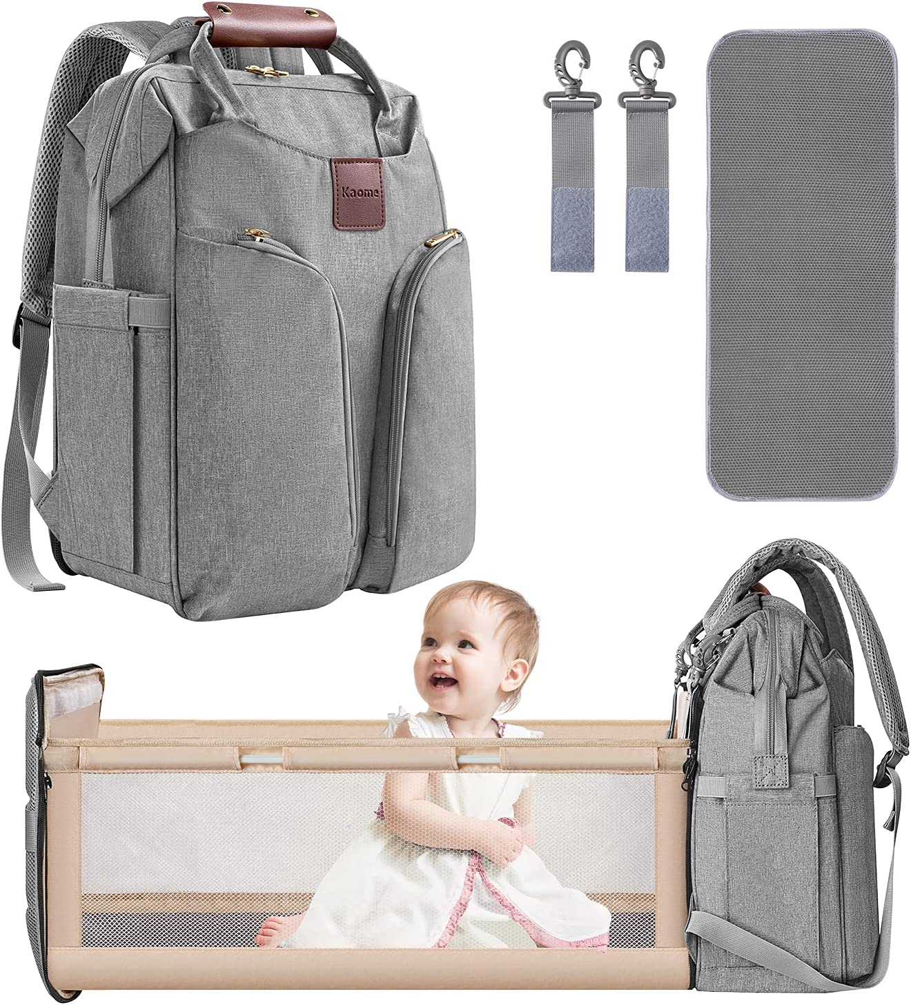 Diaper Bag Backpack, Upgraded Kaome Large Capacity Baby Bags, Multifunction Diaper Bag with Changing Station, Insulated Pockets, Stroller Straps, Waterproof Baby Diaper Bags for Girls Boys Mom Dad
