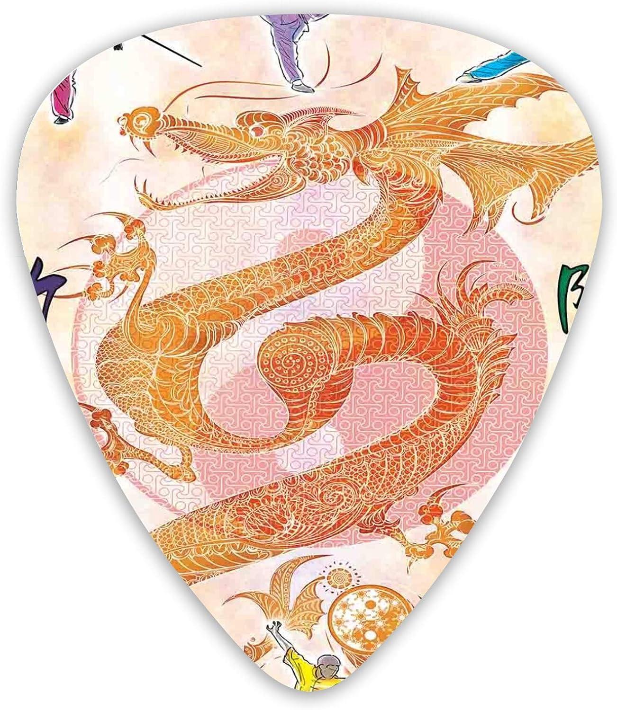 12 púas de guitarra, dragón con figuras artísticas japonesas Colroful Premium ambientales ABS púas para guitarras