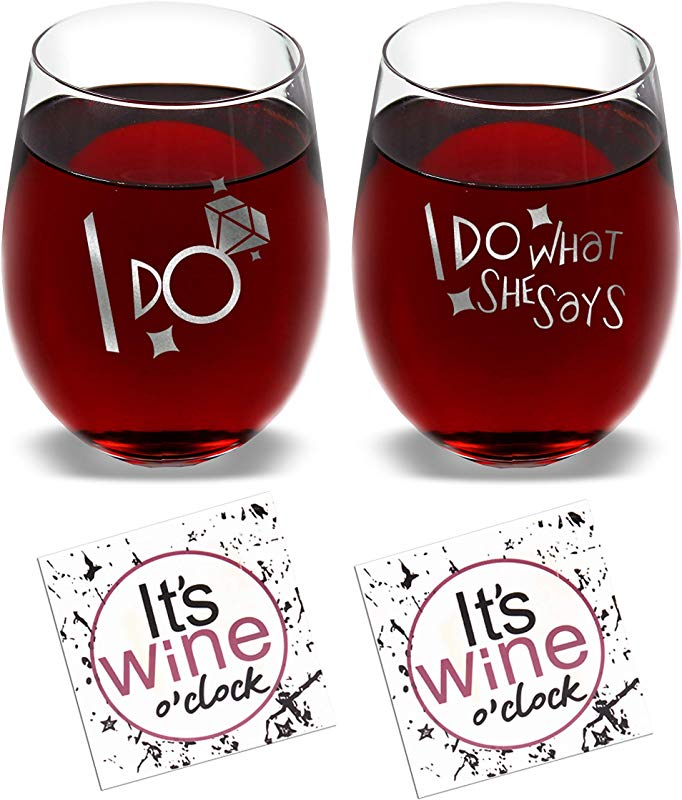 I Do I Do What She Says Set Of 2 Wine Glasses Combo With Coaster And Gift Box Funny Novelty Present For Wedding Engagement Housewarming Couples