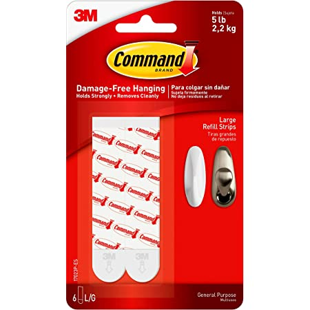 Command Refill Strips Replacement Hang Indoor Hooks 6 Strips 17023P-ES