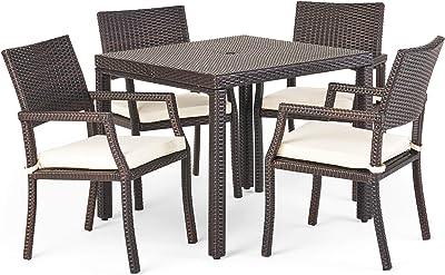 Christopher Knight Home Rhode Island Outdoor Wicker Rectangular Dining Set, 5-Pcs Set, Multibrown / White